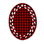 Lumberjack Plaid Fabric Pattern Red Black Ornament (Oval Filigree)  Front