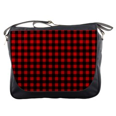 Lumberjack Plaid Fabric Pattern Red Black Messenger Bags