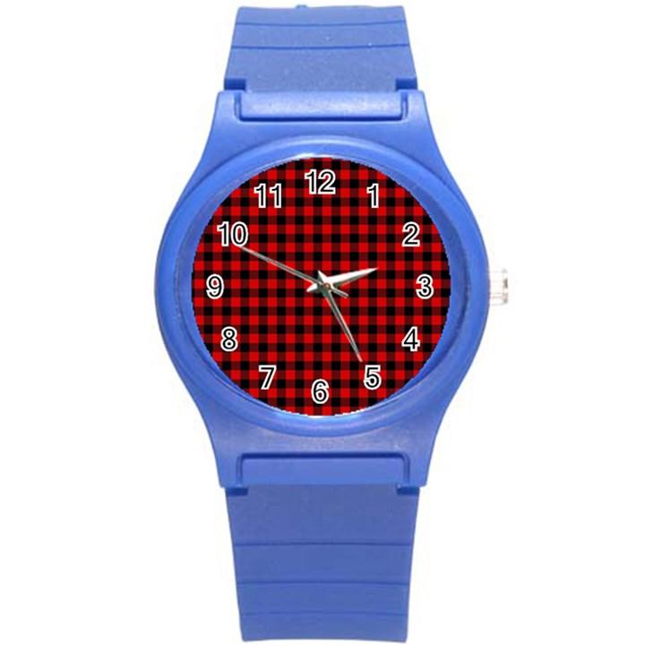 Lumberjack Plaid Fabric Pattern Red Black Round Plastic Sport Watch (S)