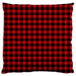 Lumberjack Plaid Fabric Pattern Red Black Large Cushion Case (One Side) Front