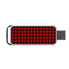 Lumberjack Plaid Fabric Pattern Red Black Portable Usb Flash (one Side) by EDDArt