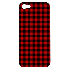 Lumberjack Plaid Fabric Pattern Red Black Apple Iphone 5 Hardshell Case by EDDArt