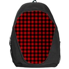 Lumberjack Plaid Fabric Pattern Red Black Backpack Bag by EDDArt