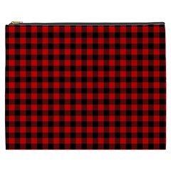 Lumberjack Plaid Fabric Pattern Red Black Cosmetic Bag (xxxl)  by EDDArt