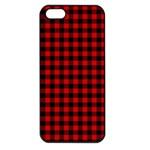 Lumberjack Plaid Fabric Pattern Red Black Apple iPhone 5 Seamless Case (Black)
