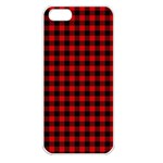 Lumberjack Plaid Fabric Pattern Red Black Apple iPhone 5 Seamless Case (White) Front