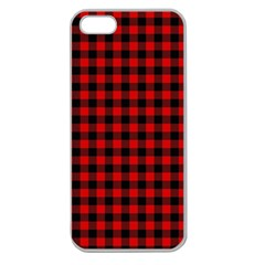Lumberjack Plaid Fabric Pattern Red Black Apple Seamless Iphone 5 Case (clear) by EDDArt