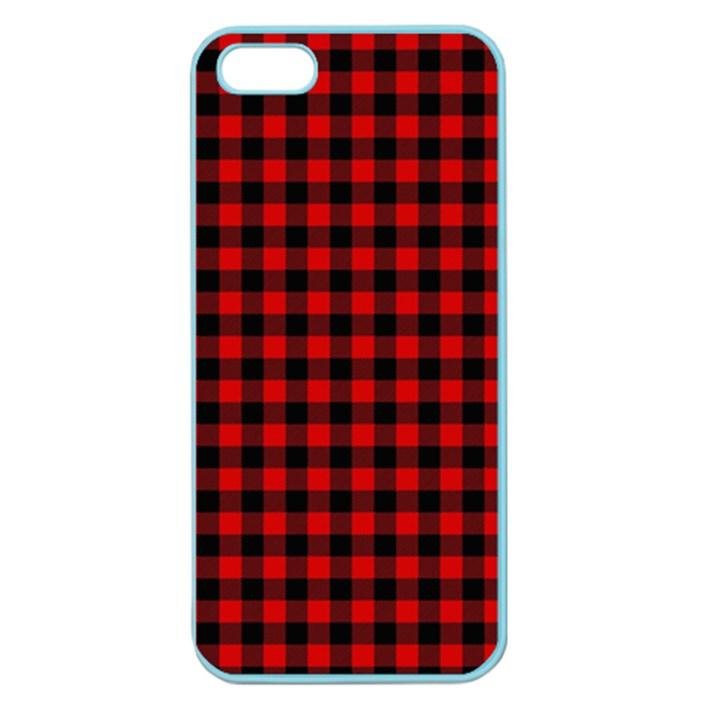 Lumberjack Plaid Fabric Pattern Red Black Apple Seamless iPhone 5 Case (Color)