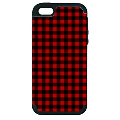 Lumberjack Plaid Fabric Pattern Red Black Apple Iphone 5 Hardshell Case (pc+silicone)