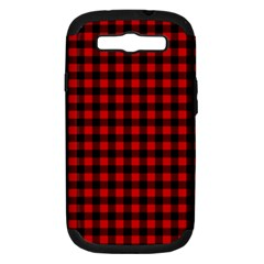 Lumberjack Plaid Fabric Pattern Red Black Samsung Galaxy S Iii Hardshell Case (pc+silicone) by EDDArt