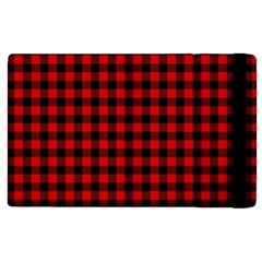 Lumberjack Plaid Fabric Pattern Red Black Apple Ipad 3/4 Flip Case by EDDArt