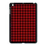 Lumberjack Plaid Fabric Pattern Red Black Apple iPad Mini Case (Black) Front