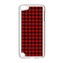 Lumberjack Plaid Fabric Pattern Red Black Apple Ipod Touch 5 Case (white)