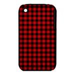 Lumberjack Plaid Fabric Pattern Red Black Apple iPhone 3G/3GS Hardshell Case (PC+Silicone)