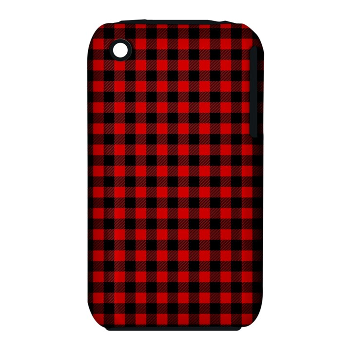 Lumberjack Plaid Fabric Pattern Red Black Apple iPhone 3G/3GS Hardshell Case (PC+Silicone)