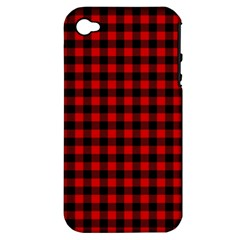 Lumberjack Plaid Fabric Pattern Red Black Apple Iphone 4/4s Hardshell Case (pc+silicone)