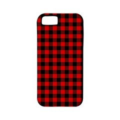 Lumberjack Plaid Fabric Pattern Red Black Apple Iphone 5 Classic Hardshell Case (pc+silicone)