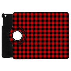 Lumberjack Plaid Fabric Pattern Red Black Apple Ipad Mini Flip 360 Case by EDDArt