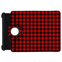 Lumberjack Plaid Fabric Pattern Red Black Kindle Fire Hd Flip 360 Case by EDDArt
