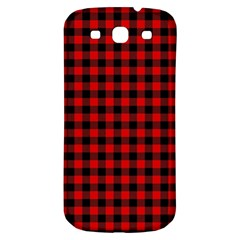 Lumberjack Plaid Fabric Pattern Red Black Samsung Galaxy S3 S Iii Classic Hardshell Back Case