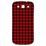 Lumberjack Plaid Fabric Pattern Red Black Samsung Galaxy S3 S III Classic Hardshell Back Case Front
