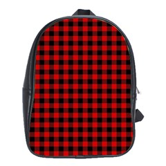 Lumberjack Plaid Fabric Pattern Red Black School Bags (xl)