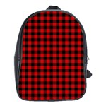 Lumberjack Plaid Fabric Pattern Red Black School Bags (XL)  Front