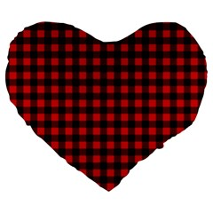 Lumberjack Plaid Fabric Pattern Red Black Large 19  Premium Heart Shape Cushions