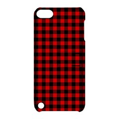 Lumberjack Plaid Fabric Pattern Red Black Apple Ipod Touch 5 Hardshell Case With Stand by EDDArt