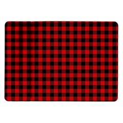 Lumberjack Plaid Fabric Pattern Red Black Samsung Galaxy Tab 10 1  P7500 Flip Case by EDDArt