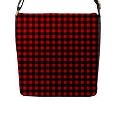 Lumberjack Plaid Fabric Pattern Red Black Flap Messenger Bag (l)  by EDDArt