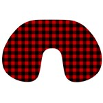 Lumberjack Plaid Fabric Pattern Red Black Travel Neck Pillows Front