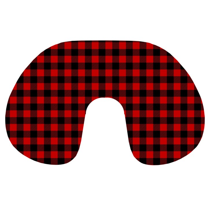 Lumberjack Plaid Fabric Pattern Red Black Travel Neck Pillows