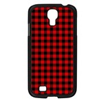 Lumberjack Plaid Fabric Pattern Red Black Samsung Galaxy S4 I9500/ I9505 Case (Black) Front
