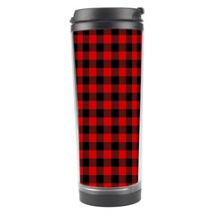 Lumberjack Plaid Fabric Pattern Red Black Travel Tumbler by EDDArt