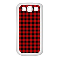 Lumberjack Plaid Fabric Pattern Red Black Samsung Galaxy S3 Back Case (white)