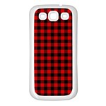 Lumberjack Plaid Fabric Pattern Red Black Samsung Galaxy S3 Back Case (White)