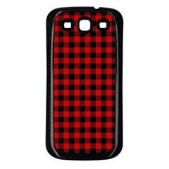 Lumberjack Plaid Fabric Pattern Red Black Samsung Galaxy S3 Back Case (black)