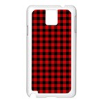 Lumberjack Plaid Fabric Pattern Red Black Samsung Galaxy Note 3 N9005 Case (White) Front