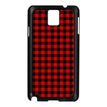 Lumberjack Plaid Fabric Pattern Red Black Samsung Galaxy Note 3 N9005 Case (Black) Front