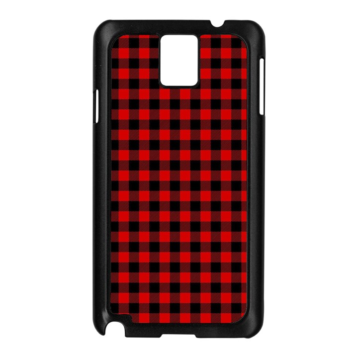 Lumberjack Plaid Fabric Pattern Red Black Samsung Galaxy Note 3 N9005 Case (Black)