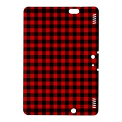 Lumberjack Plaid Fabric Pattern Red Black Kindle Fire Hdx 8 9  Hardshell Case by EDDArt