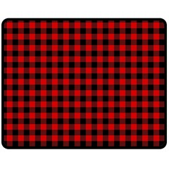 Lumberjack Plaid Fabric Pattern Red Black Double Sided Fleece Blanket (medium)  by EDDArt