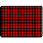 Lumberjack Plaid Fabric Pattern Red Black Double Sided Fleece Blanket (Large)  80 x60 Blanket Back