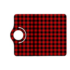 Lumberjack Plaid Fabric Pattern Red Black Kindle Fire Hd (2013) Flip 360 Case by EDDArt