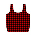 Lumberjack Plaid Fabric Pattern Red Black Full Print Recycle Bags (M)  Front