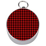 Lumberjack Plaid Fabric Pattern Red Black Silver Compasses Front