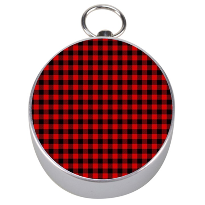 Lumberjack Plaid Fabric Pattern Red Black Silver Compasses