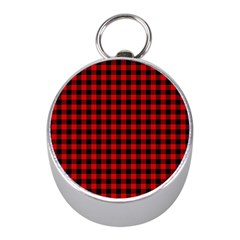 Lumberjack Plaid Fabric Pattern Red Black Mini Silver Compasses by EDDArt