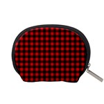 Lumberjack Plaid Fabric Pattern Red Black Accessory Pouches (Small)  Back